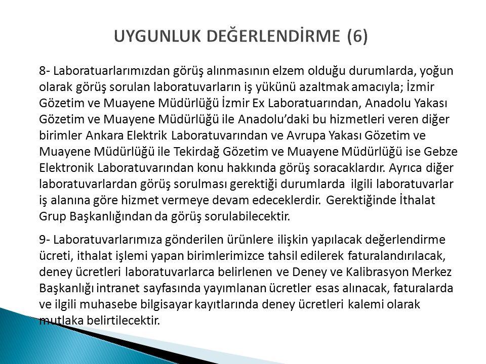 UYGUNLUK DEĞERLENDİRME (6) 8- Laboratuarlarımızdan görüş alınmasının elzem olduğu durumlarda, yoğun olarak görüş sorulan laboratuvarların iş yükünü azaltmak amacıyla; İzmir Gözetim ve Muayene Müdürlüğü İzmir Ex Laboratuarından, Anadolu Yakası Gözetim ve Muayene Müdürlüğü ile Anadolu'daki bu hizmetleri veren diğer birimler Ankara Elektrik Laboratuvarından ve Avrupa Yakası Gözetim ve Muayene Müdürlüğü ile Tekirdağ Gözetim ve Muayene Müdürlüğü ise Gebze Elektronik Laboratuvarından konu hakkında görüş soracaklardır.