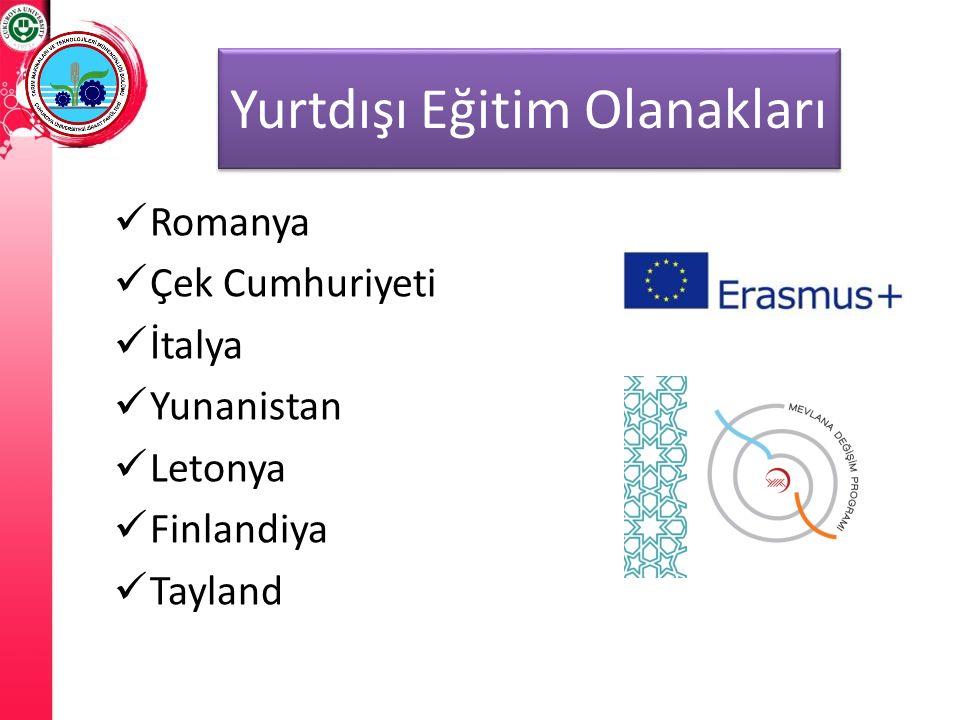 Yurtdışı Eğitim Olanakları Romanya Çek Cumhuriyeti İtalya Yunanistan Letonya Finlandiya Tayland