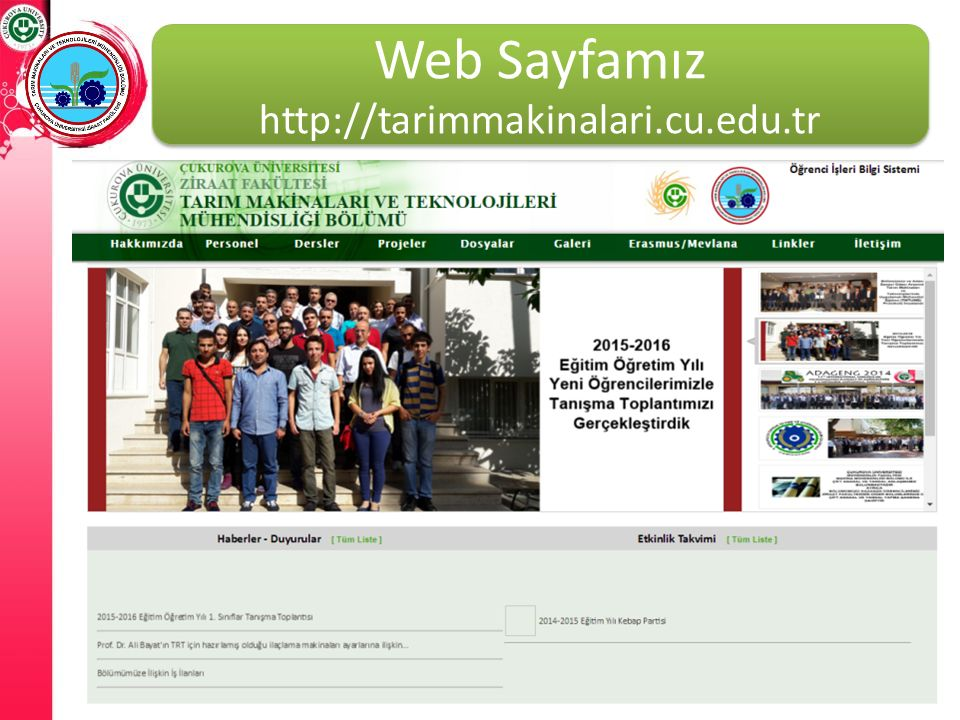 Web Sayfamız http://tarimmakinalari.cu.edu.tr
