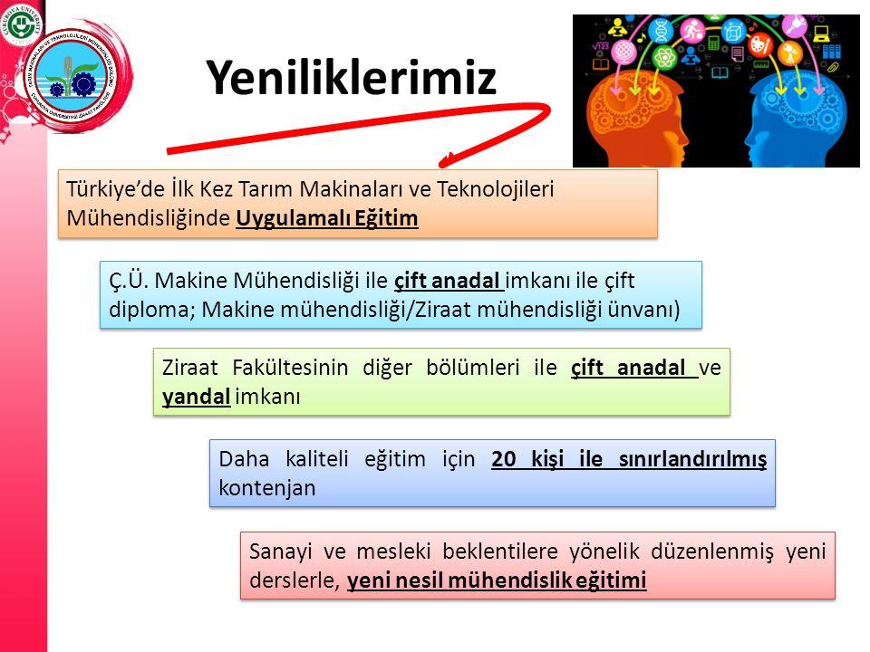 Yeniliklerimiz Türkiye'de İlk Kez Tarım Makinaları ve Teknolojileri Mühendisliğinde Uygulamalı Eğitim Ç.Ü. Makine Mühendisliği ile çift anadal imkanı