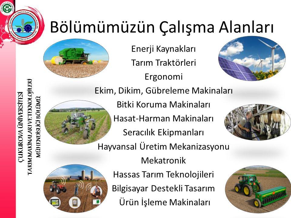 Enerji Kaynakları Tarım Traktörleri Ergonomi Ekim, Dikim, Gübreleme Makinaları Bitki Koruma Makinaları Hasat-Harman Makinaları Seracılık Ekipmanları H