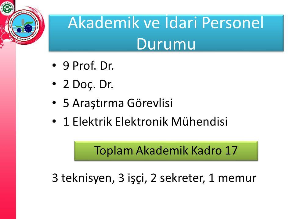 Akademik ve İdari Personeller 9 Prof. Dr. 2 Doç. Dr. 5 Araştırma Görevlisi 1 Elektrik Elektronik Mühendisi 3 teknisyen, 3 işçi, 2 sekreter, 1 memur Ak