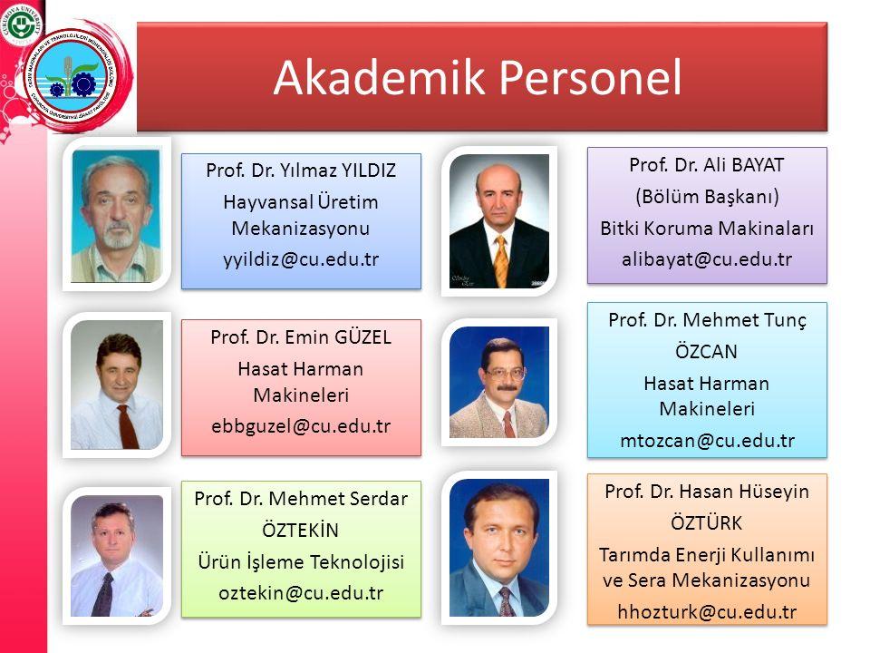 Akademik Personel Prof. Dr. Yılmaz YILDIZ Hayvansal Üretim Mekanizasyonu yyildiz@cu.edu.tr Prof. Dr. Yılmaz YILDIZ Hayvansal Üretim Mekanizasyonu yyil