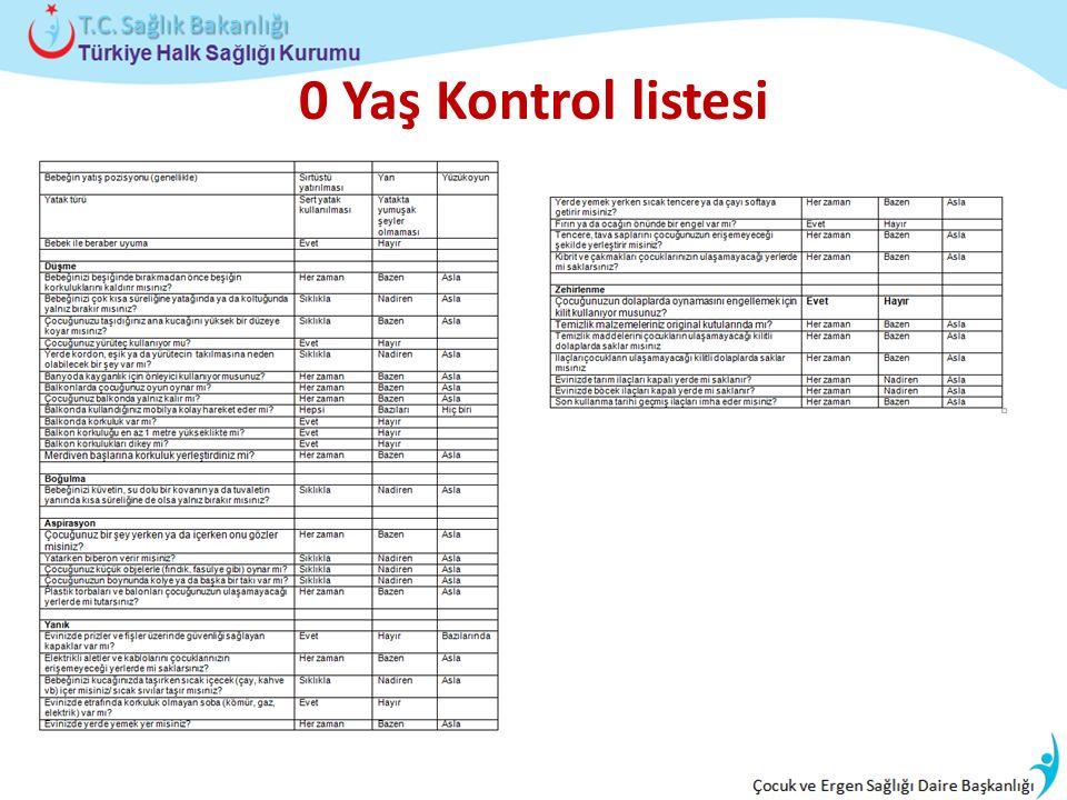 0 Yaş Kontrol listesi