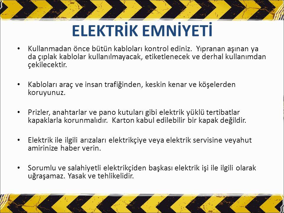 ELEKTRİK EMNİYETİ Elektrikli aleti kullanmadan önce kontrol edin.