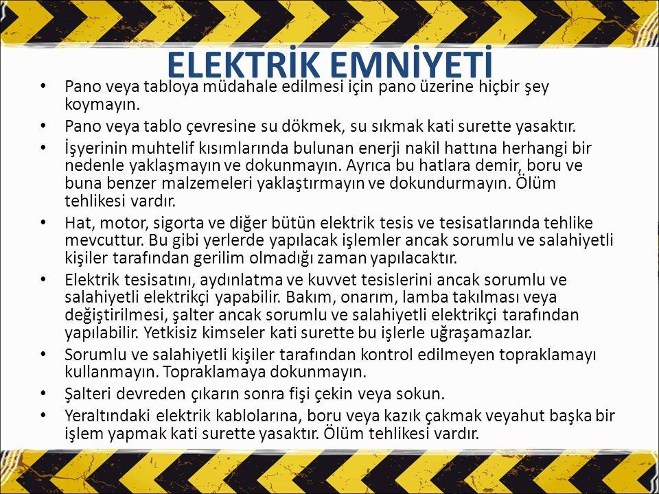 ELEKTRİK EMNİYETİ Kullanmadan önce bütün kabloları kontrol ediniz.