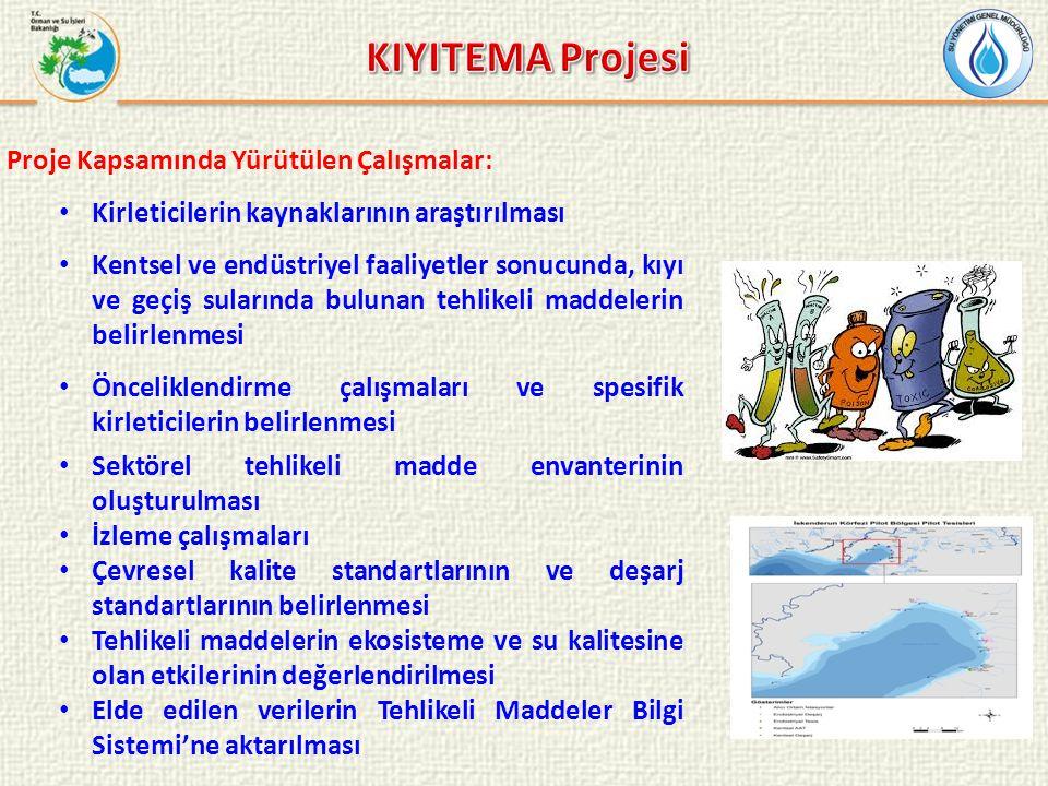 Proje Kapsamında Yürütülen Çalışmalar: Kirleticilerin kaynaklarının araştırılması Kentsel ve endüstriyel faaliyetler sonucunda, kıyı ve geçiş sularınd