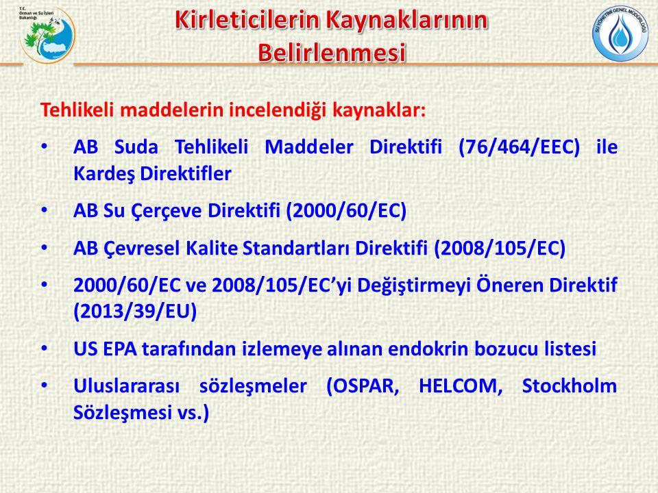 Tehlikeli maddelerin incelendiği kaynaklar: AB Suda Tehlikeli Maddeler Direktifi (76/464/EEC) ile Kardeş Direktifler AB Su Çerçeve Direktifi (2000/60/