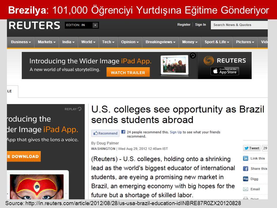 Brezilya: 101,000 Öğrenciyi Yurtdışına Eğitime Gönderiyor Source: http://in.reuters.com/article/2012/08/28/us-usa-brazil-education-idINBRE87R0ZX20120828