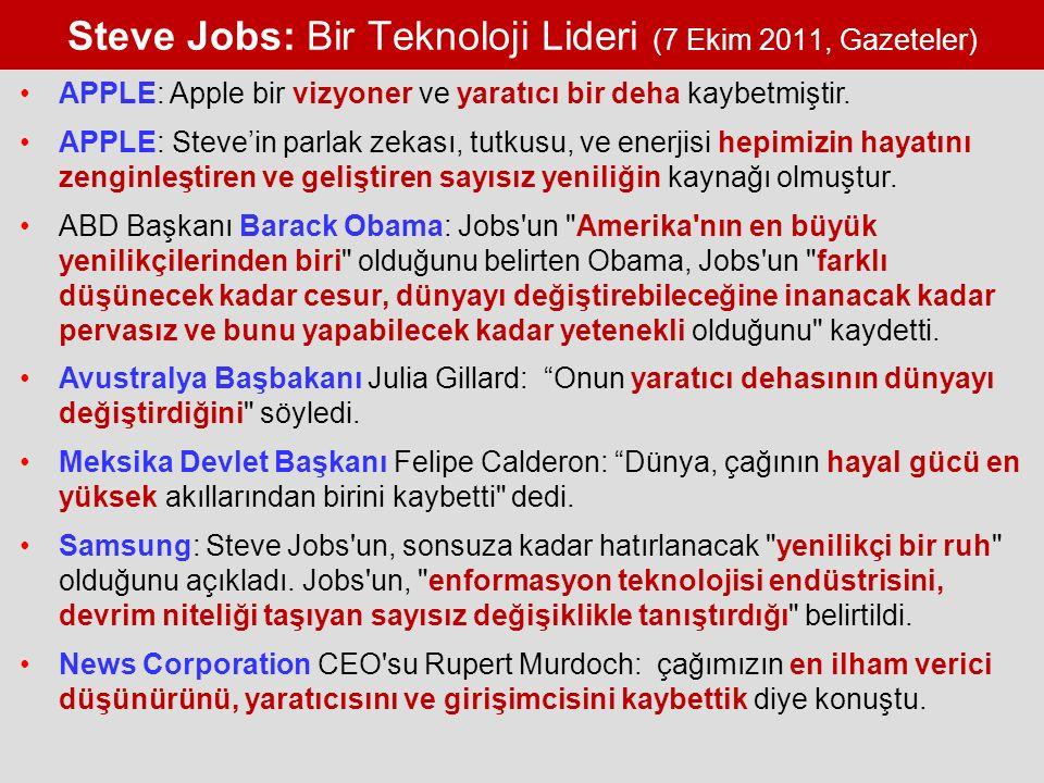 Steve Jobs: Bir Teknoloji Lideri (7 Ekim 2011, Gazeteler) APPLE: Apple bir vizyoner ve yaratıcı bir deha kaybetmiştir.