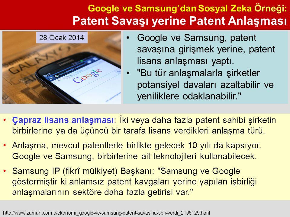 Google ve Samsung'dan Sosyal Zeka Örneği: Patent Savaşı yerine Patent Anlaşması http://www.zaman.com.tr/ekonomi_google-ve-samsung-patent-savasina-son-verdi_2196129.html Çapraz lisans anlaşması: İki veya daha fazla patent sahibi şirketin birbirlerine ya da üçüncü bir tarafa lisans verdikleri anlaşma türü.