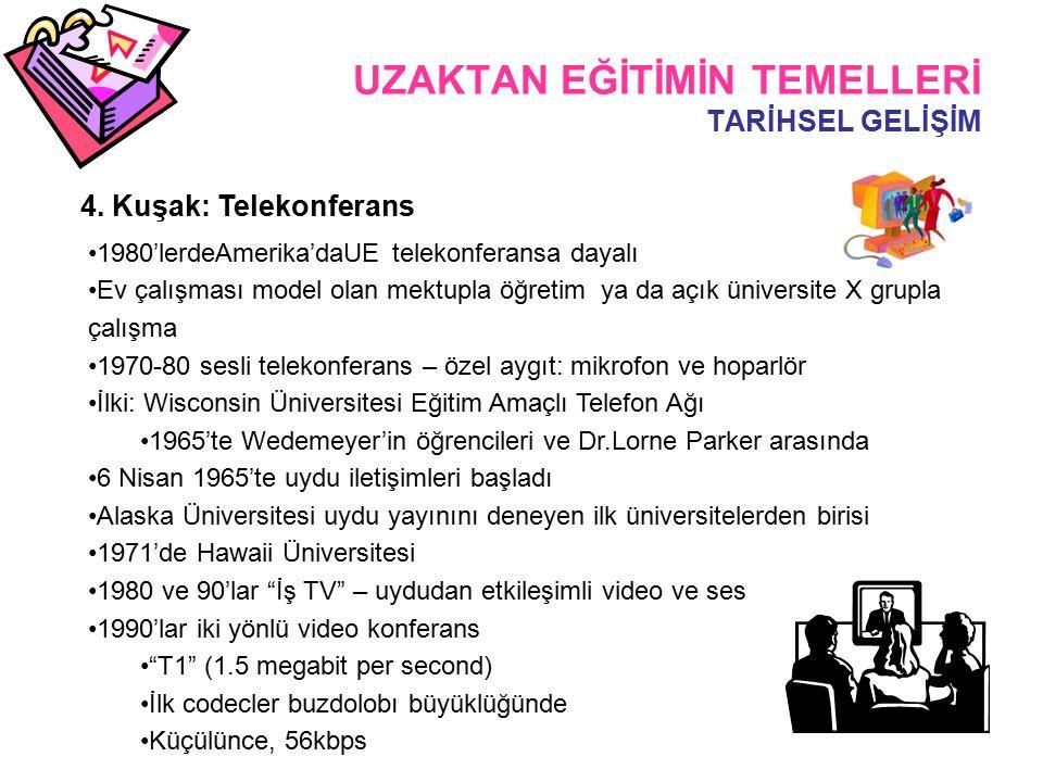 UZAKTAN EĞİTİMİN TEMELLERİ TARİHSEL GELİŞİM 4.