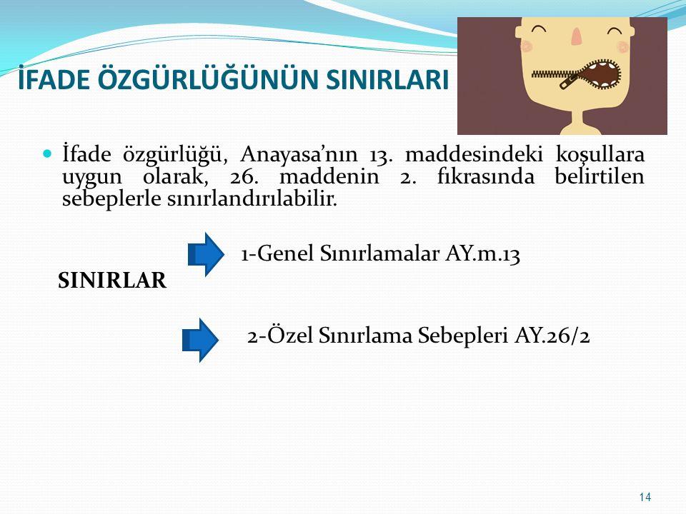 İfade özgürlüğü, Anayasa'nın 13. maddesindeki koşullara uygun olarak, 26. maddenin 2. fıkrasında belirtilen sebeplerle sınırlandırılabilir. 1-Genel Sı