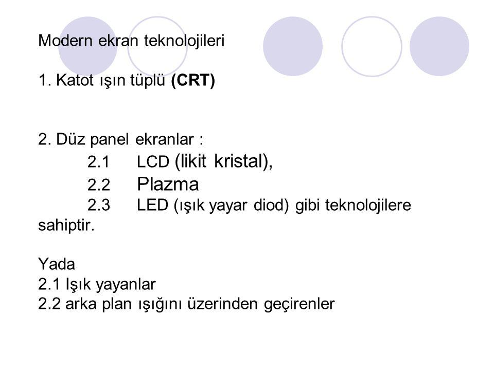 Modern ekran teknolojileri 1. Katot ışın tüplü (CRT) 2.