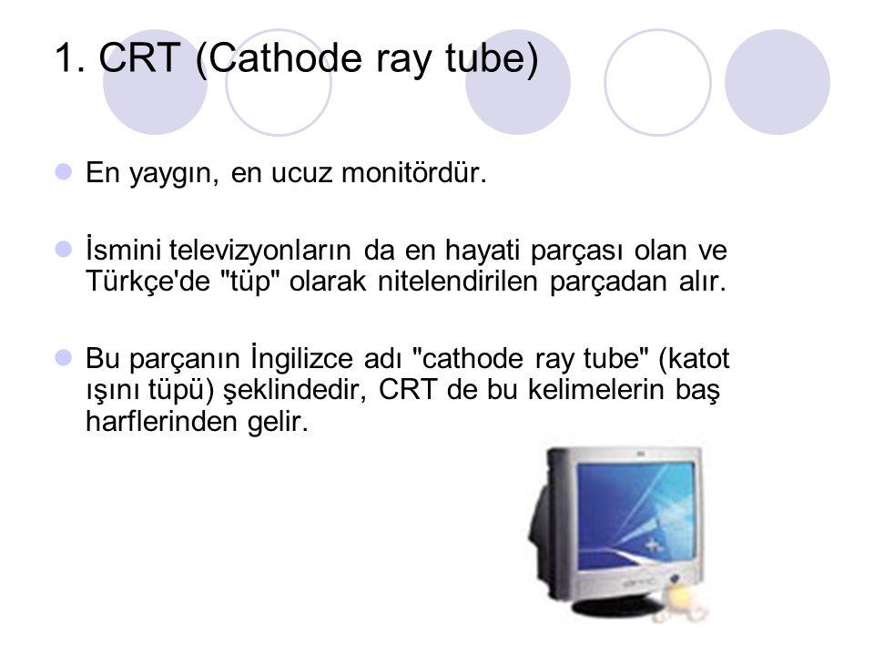 1. CRT (Cathode ray tube) En yaygın, en ucuz monitördür.