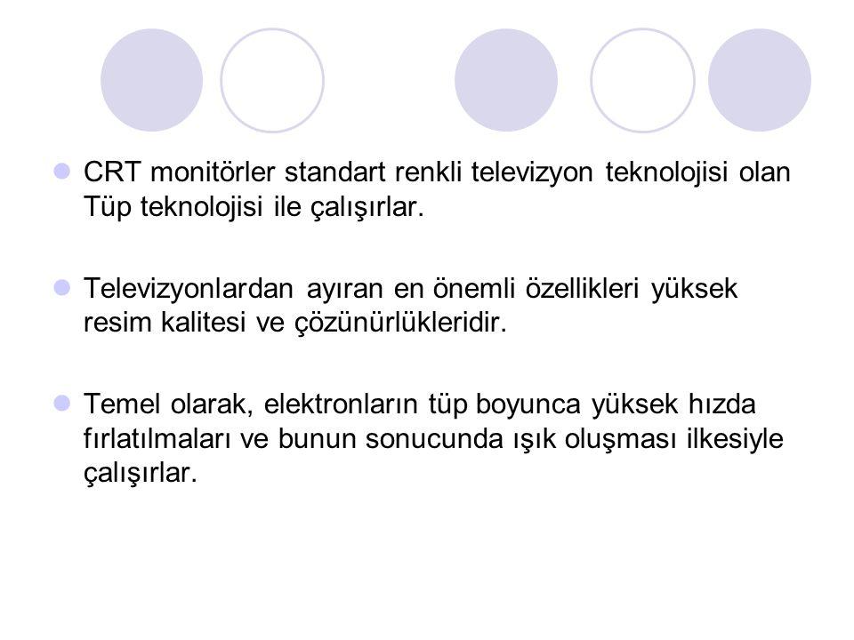 CRT monitörler standart renkli televizyon teknolojisi olan Tüp teknolojisi ile çalışırlar.
