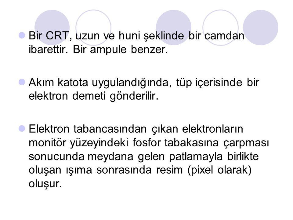 Bir CRT, uzun ve huni şeklinde bir camdan ibarettir.