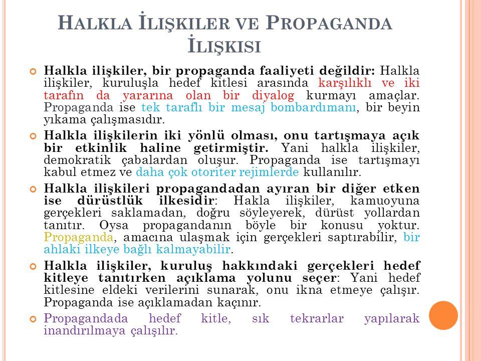 H ALKLA İ LIŞKILER VE P ROPAGANDA İ LIŞKISI Halkla ilişkiler, bir propaganda faaliyeti değildir: Halkla ilişkiler, kuruluşla hedef kitlesi arasında karşılıklı ve iki tarafın da yararına olan bir diyalog kurmayı amaçlar.