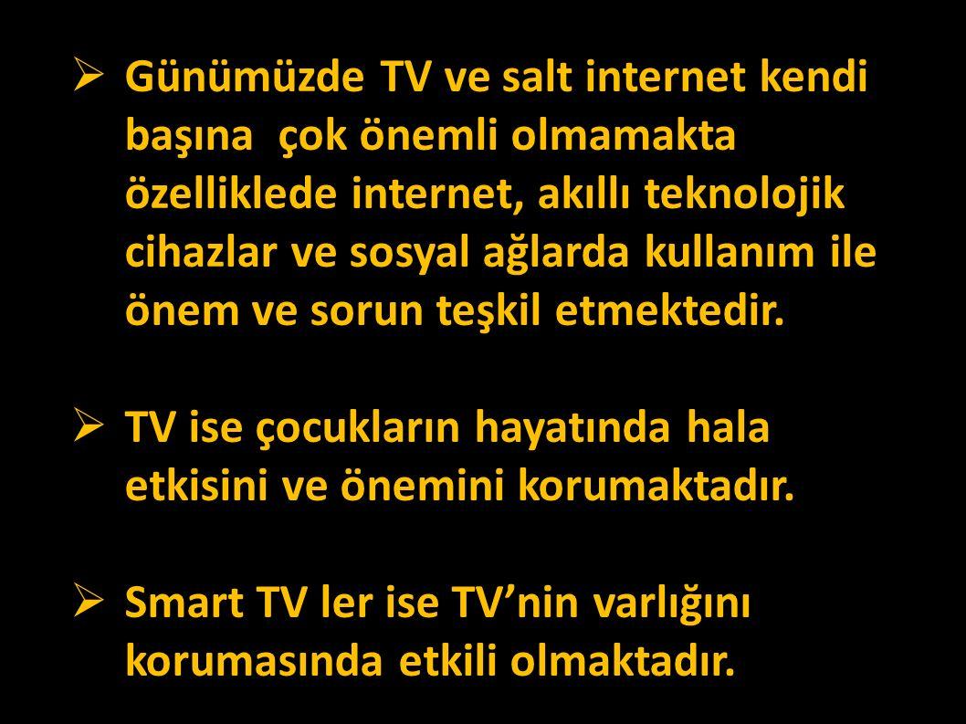  Günümüzde TV ve salt internet kendi başına çok önemli olmamakta özelliklede internet, akıllı teknolojik cihazlar ve sosyal ağlarda kullanım ile önem ve sorun teşkil etmektedir.