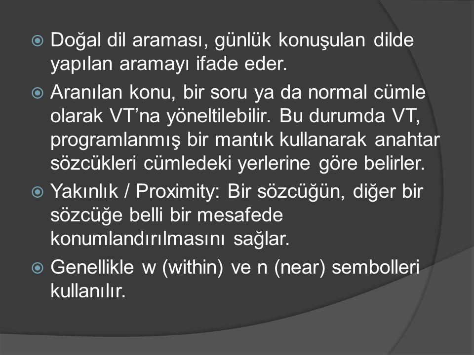  Doğal dil araması, günlük konuşulan dilde yapılan aramayı ifade eder.  Aranılan konu, bir soru ya da normal cümle olarak VT'na yöneltilebilir. Bu d
