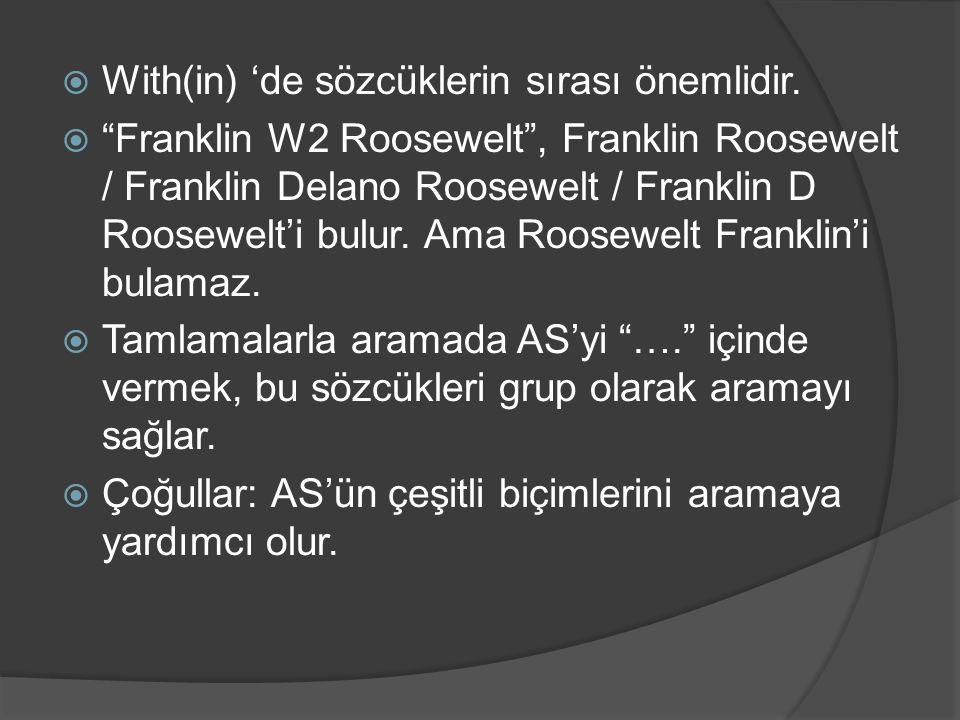 """ With(in) 'de sözcüklerin sırası önemlidir.  """"Franklin W2 Roosewelt"""", Franklin Roosewelt / Franklin Delano Roosewelt / Franklin D Roosewelt'i bulur."""