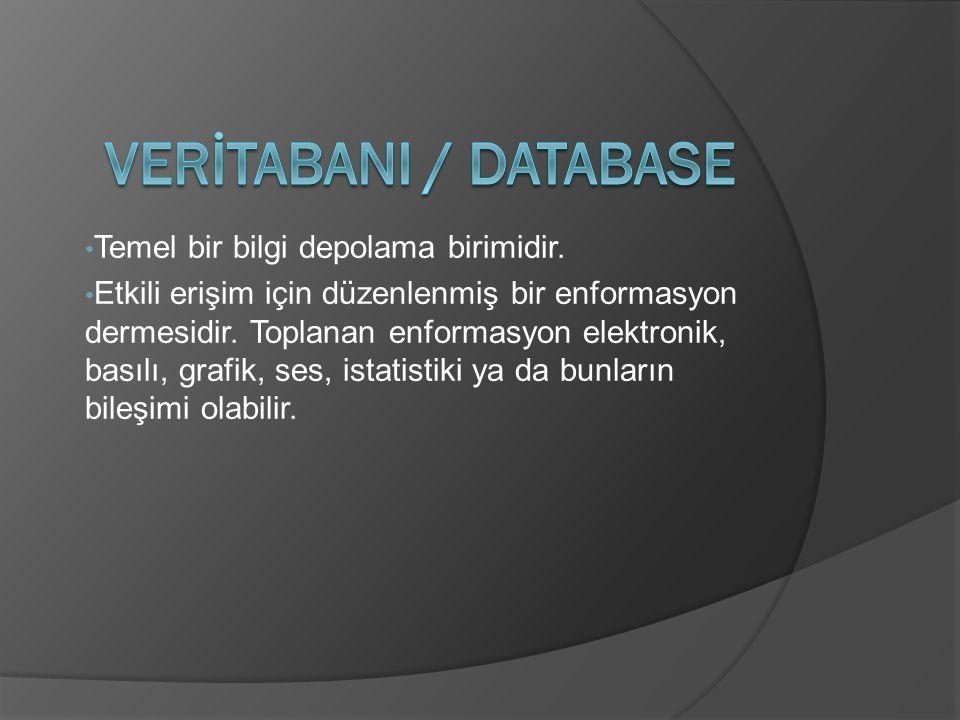 Temel bir bilgi depolama birimidir. Etkili erişim için düzenlenmiş bir enformasyon dermesidir.