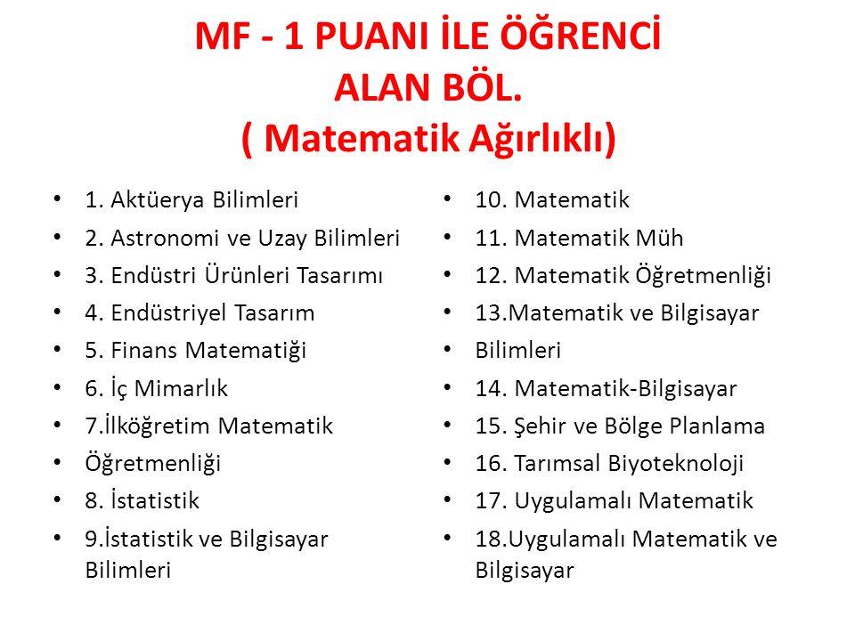 MF - 1 PUANI İLE ÖĞRENCİ ALAN BÖL.( Matematik Ağırlıklı) 1.