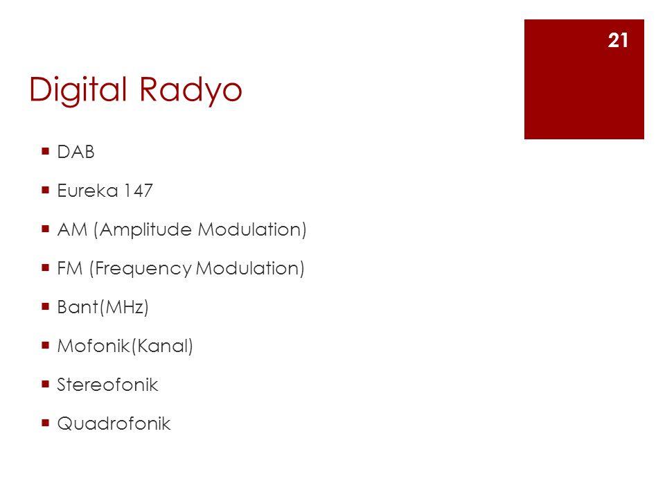 Digital Radyo  DAB  Eureka 147  AM (Amplitude Modulation)  FM (Frequency Modulation)  Bant(MHz)  Mofonik(Kanal)  Stereofonik  Quadrofonik 21