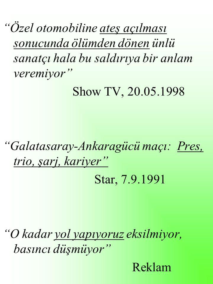 Özel otomobiline ateş açılması sonucunda ölümden dönen ünlü sanatçı hala bu saldırıya bir anlam veremiyor Show TV, 20.05.1998 Galatasaray-Ankaragücü maçı: Pres, trio, şarj, kariyer Star, 7.9.1991 O kadar yol yapıyoruz eksilmiyor, basıncı düşmüyor Reklam