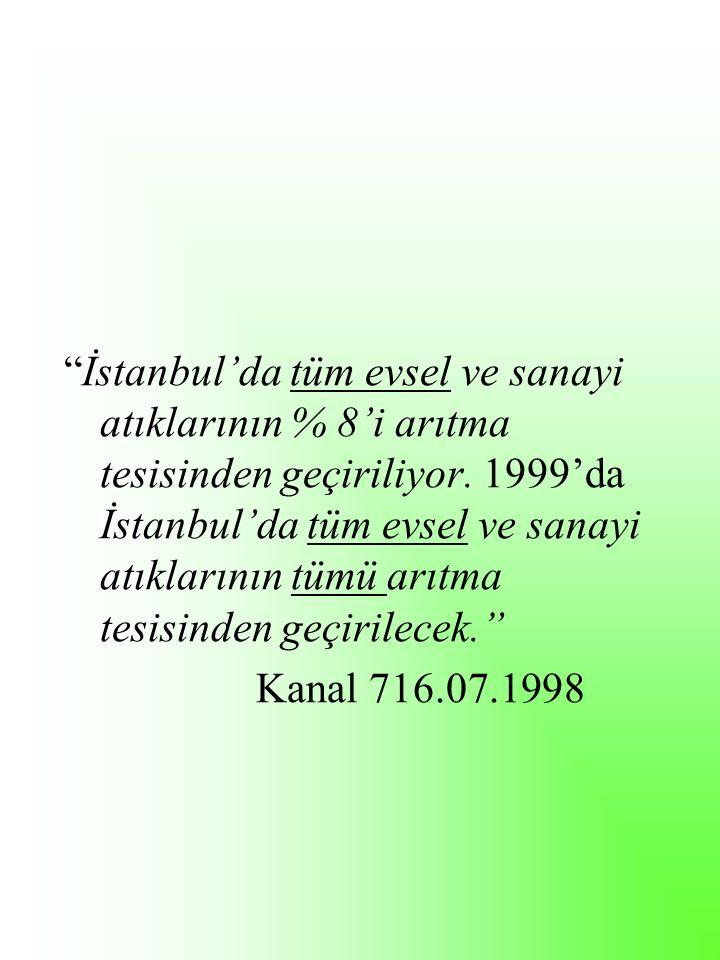 İstanbul'da tüm evsel ve sanayi atıklarının % 8'i arıtma tesisinden geçiriliyor.