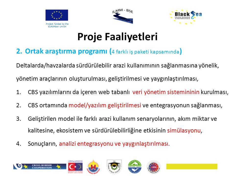 2.Ortak araştırma programı ( 4 farklı iş paketi kapsamında ) Deltalarda/havzalarda sürdürülebilir arazi kullanımının sağlanmasına yönelik, yönetim ara