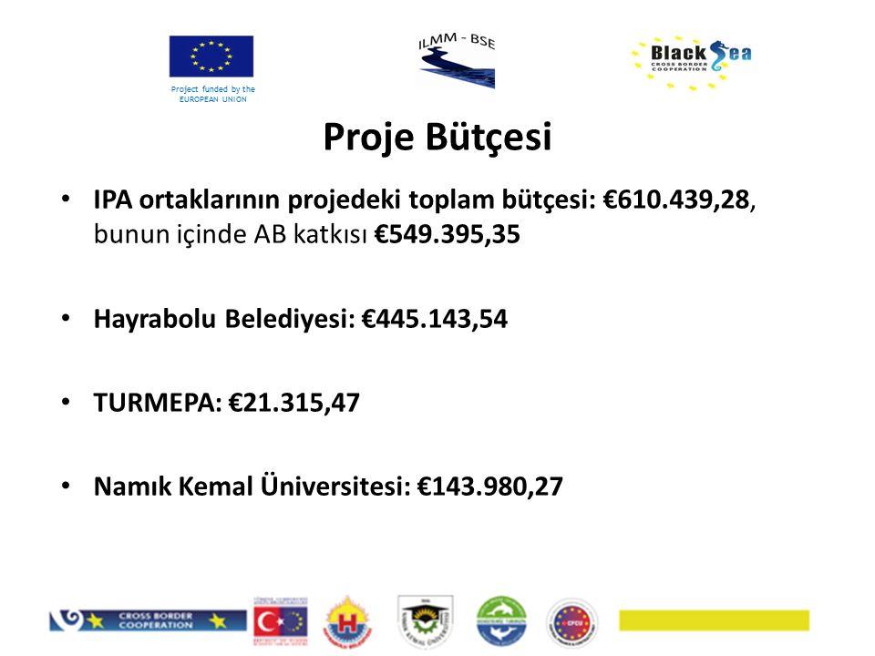 Proje Bütçesi Project funded by the EUROPEAN UNION IPA ortaklarının projedeki toplam bütçesi: €610.439,28, bunun içinde AB katkısı €549.395,35 Hayrabolu Belediyesi: €445.143,54 TURMEPA: €21.315,47 Namık Kemal Üniversitesi: €143.980,27