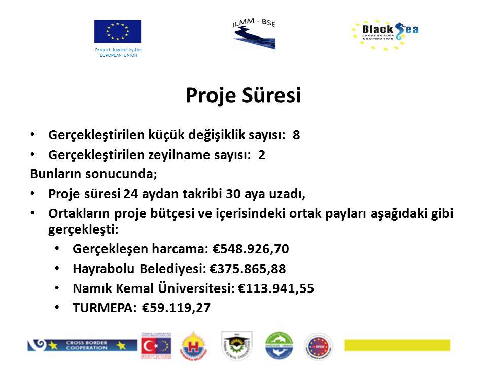 Proje Süresi Project funded by the EUROPEAN UNION Gerçekleştirilen küçük değişiklik sayısı: 8 Gerçekleştirilen zeyilname sayısı: 2 Bunların sonucunda;