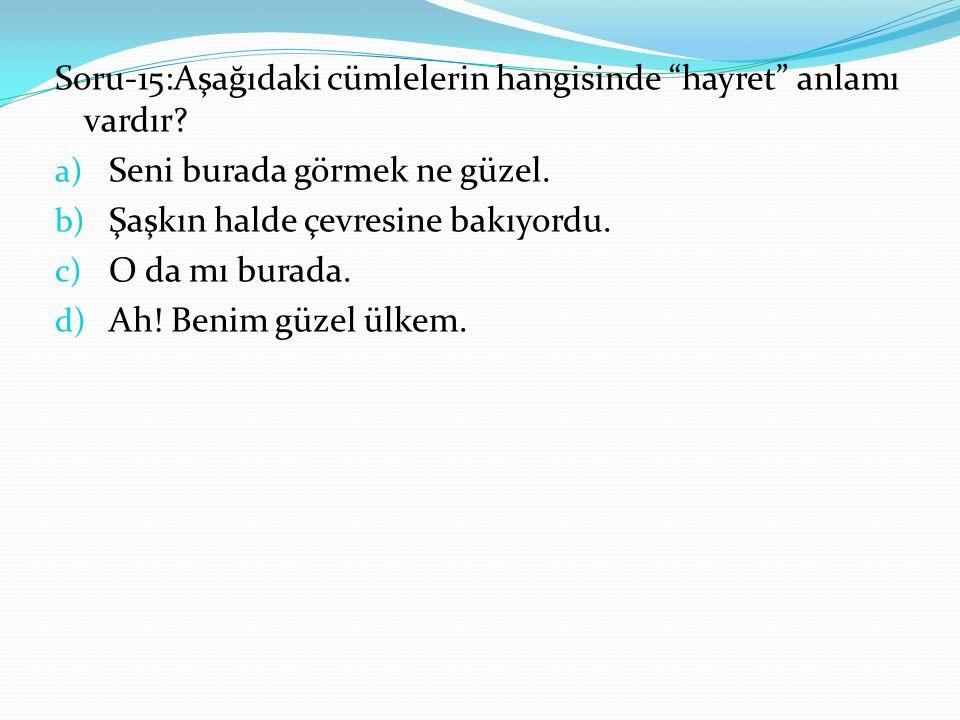 Soru-15:Aşağıdaki cümlelerin hangisinde hayret anlamı vardır.
