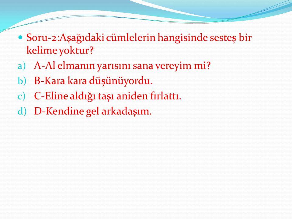 Soru-2:Aşağıdaki cümlelerin hangisinde sesteş bir kelime yoktur.