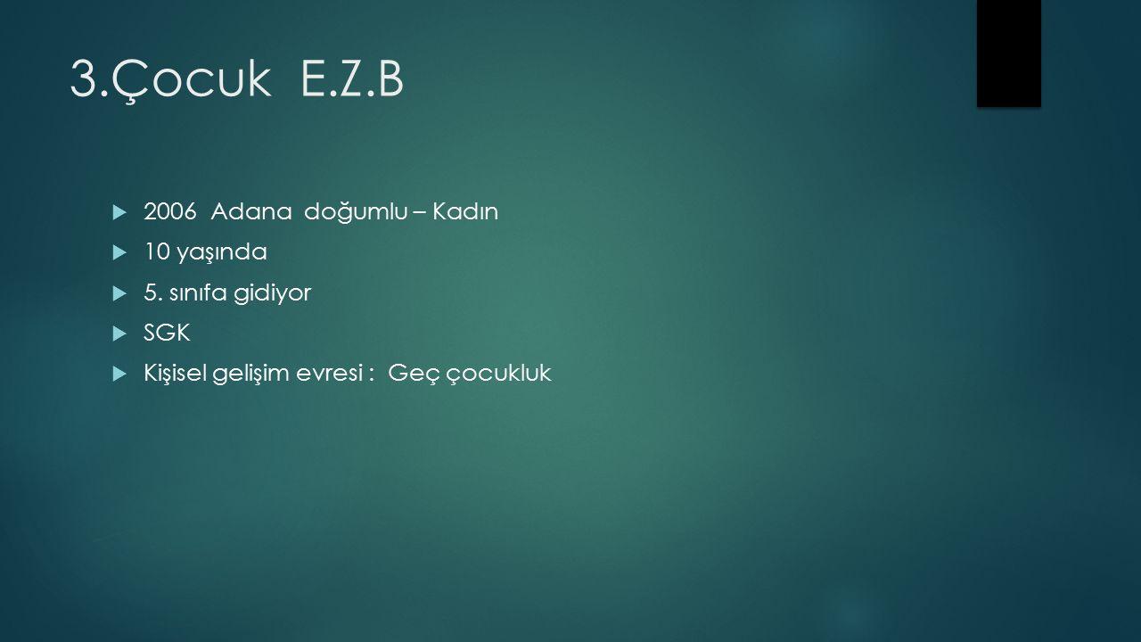 3.Çocuk E.Z.B  2006 Adana doğumlu – Kadın  10 yaşında  5.