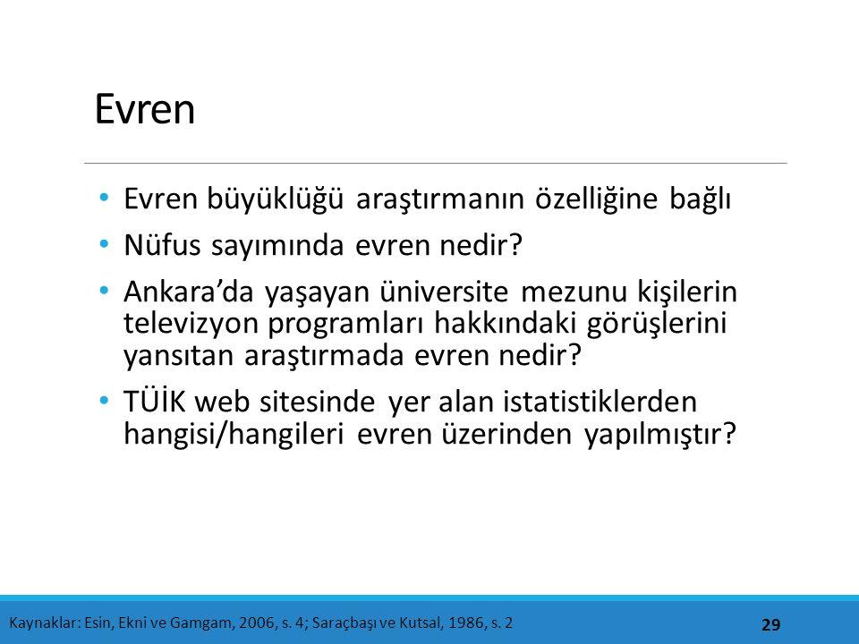Evren Evren büyüklüğü araştırmanın özelliğine bağlı Nüfus sayımında evren nedir? Ankara'da yaşayan üniversite mezunu kişilerin televizyon programları