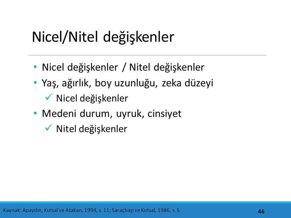 Nicel/Nitel değişkenler Nicel değişkenler / Nitel değişkenler Yaş, ağırlık, boy uzunluğu, zeka düzeyi Nicel değişkenler Medeni durum, uyruk, cinsiyet
