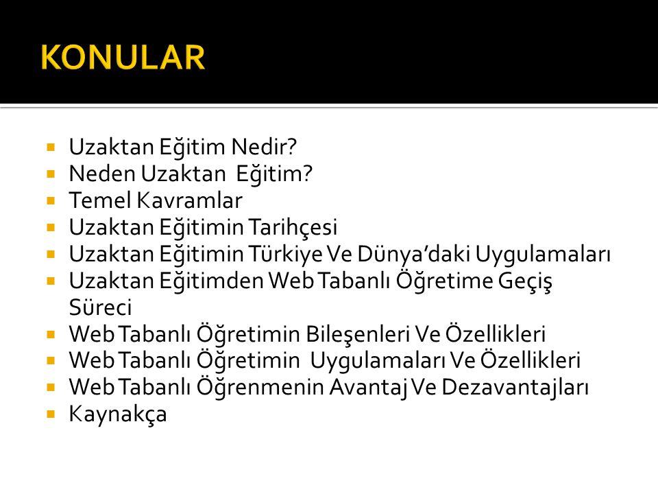  Uzaktan Eğitim Nedir?  Neden Uzaktan Eğitim?  Temel Kavramlar  Uzaktan Eğitimin Tarihçesi  Uzaktan Eğitimin Türkiye Ve Dünya'daki Uygulamaları 