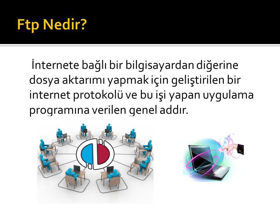 İnternete bağlı bir bilgisayardan diğerine dosya aktarımı yapmak için geliştirilen bir internet protokolü ve bu işi yapan uygulama programına verilen