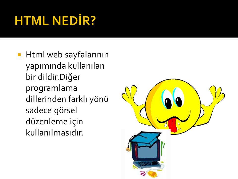  Html web sayfalarının yapımında kullanılan bir dildir.Diğer programlama dillerinden farklı yönü sadece görsel düzenleme için kullanılmasıdır.