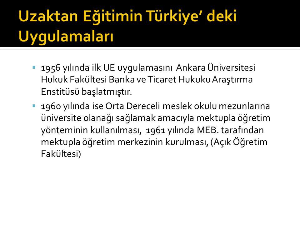  1956 yılında ilk UE uygulamasını Ankara Üniversitesi Hukuk Fakültesi Banka ve Ticaret Hukuku Araştırma Enstitüsü başlatmıştır.  1960 yılında ise Or