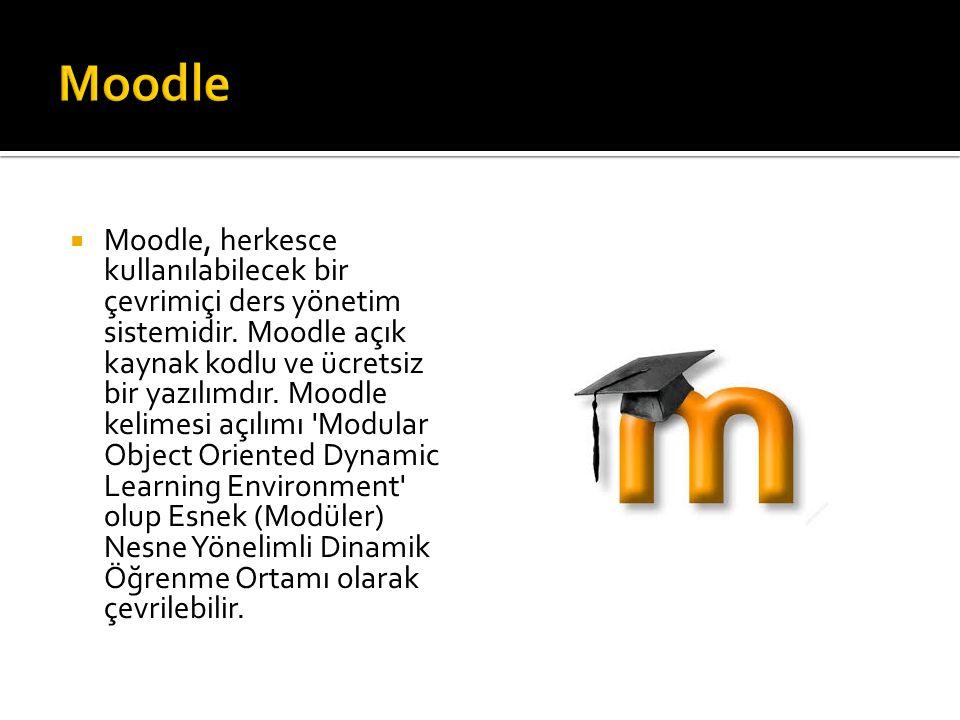  Moodle, herkesce kullanılabilecek bir çevrimiçi ders yönetim sistemidir. Moodle açık kaynak kodlu ve ücretsiz bir yazılımdır. Moodle kelimesi açılım