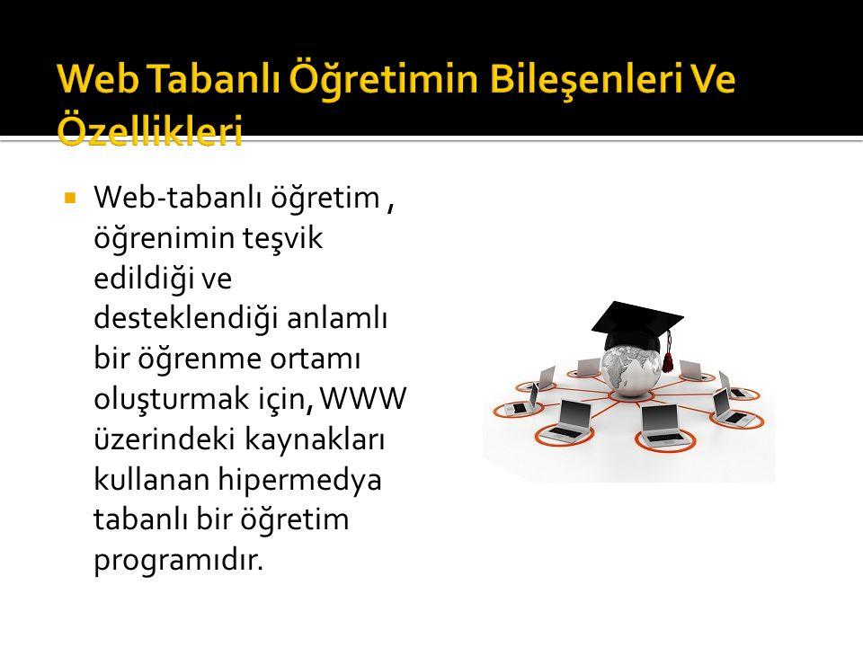  Web-tabanlı öğretim, öğrenimin teşvik edildiği ve desteklendiği anlamlı bir öğrenme ortamı oluşturmak için, WWW üzerindeki kaynakları kullanan hiper