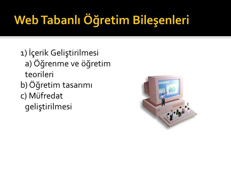 1) İçerik Geliştirilmesi a) Öğrenme ve öğretim teorileri b) Öğretim tasarımı c) Müfredat geliştirilmesi