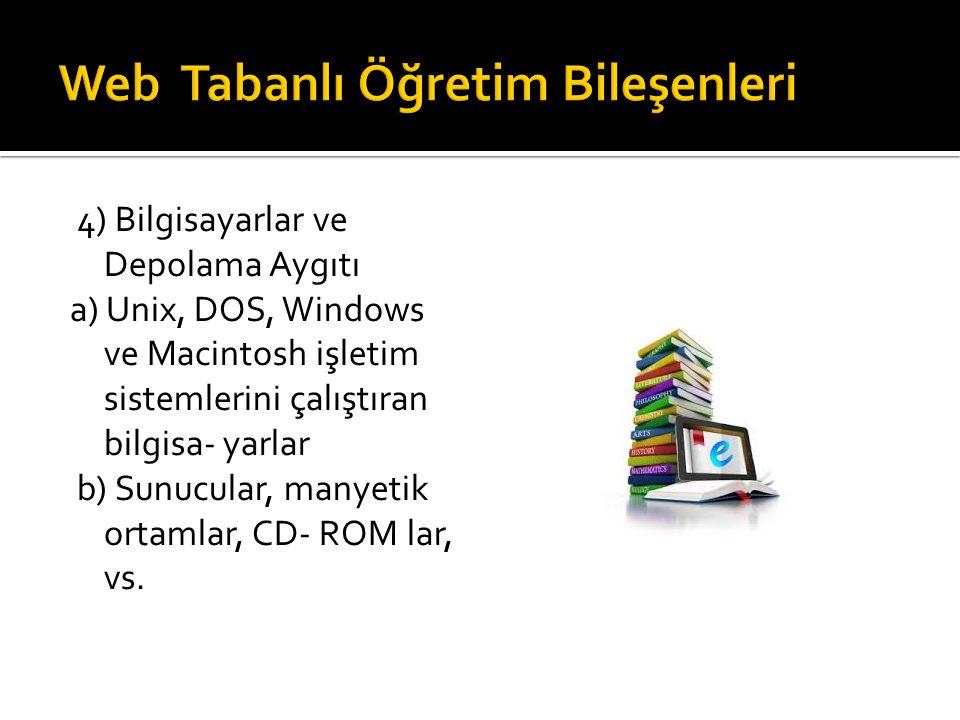 4) Bilgisayarlar ve Depolama Aygıtı a) Unix, DOS, Windows ve Macintosh işletim sistemlerini çalıştıran bilgisa- yarlar b) Sunucular, manyetik ortamlar, CD- ROM lar, vs.