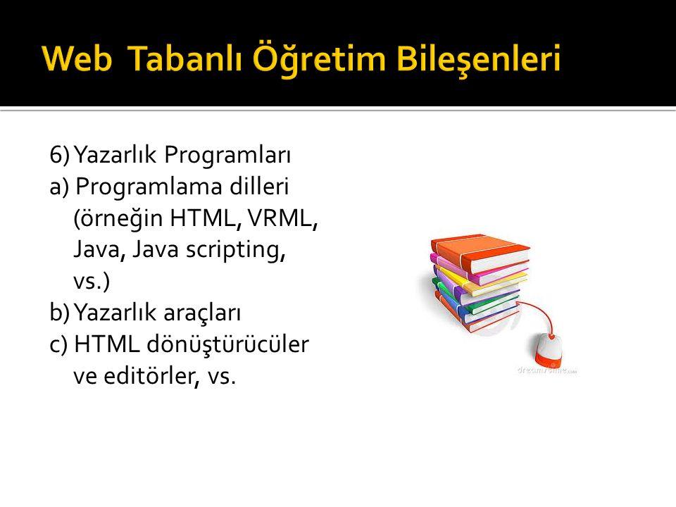 6) Yazarlık Programları a) Programlama dilleri (örneğin HTML, VRML, Java, Java scripting, vs.) b) Yazarlık araçları c) HTML dönüştürücüler ve editörler, vs.