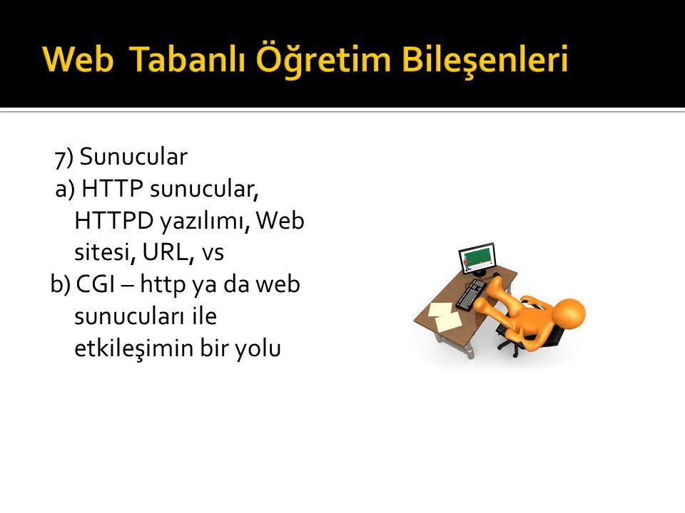 7) Sunucular a) HTTP sunucular, HTTPD yazılımı, Web sitesi, URL, vs b) CGI – http ya da web sunucuları ile etkileşimin bir yolu