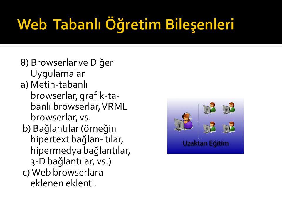8) Browserlar ve Diğer Uygulamalar a) Metin-tabanlı browserlar, grafik-ta- banlı browserlar, VRML browserlar, vs.