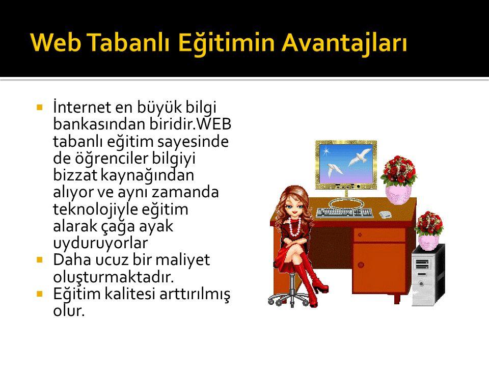  İnternet en büyük bilgi bankasından biridir.WEB tabanlı eğitim sayesinde de öğrenciler bilgiyi bizzat kaynağından alıyor ve aynı zamanda teknolojiyl